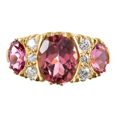 Classic Triple Pink Tourmaline Diamond Gold Ring