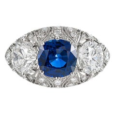 Sapphire Diamond Three-Stone Ring
