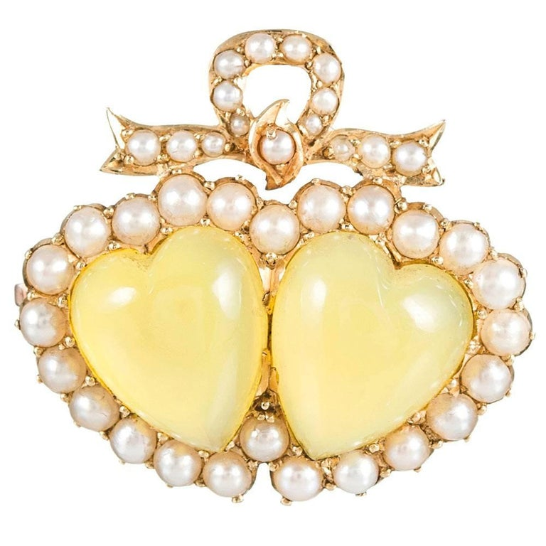 Victorian Chrysoberyl and Pearl Double Heart Brooch