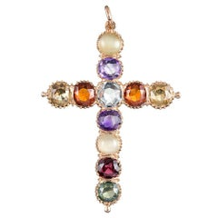 Victorian Multi-Gemstone Cross Pendant