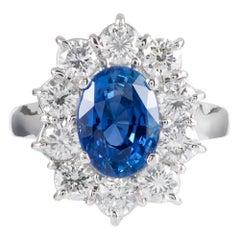 Sri Lanka No Heat 3.85 Carat Sapphire and Diamond Cluster Ring