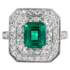 Art Deco 1.20 Carat Colombian Emerald and Diamond Ring