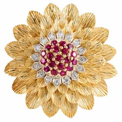 Tiffany & Co Textured Gold Ruby and Diamond Flower Brooch
