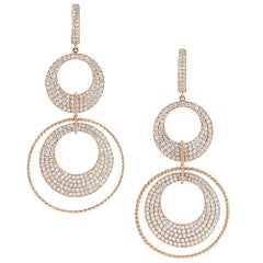Rose Gold Double Circle Drop Earrings