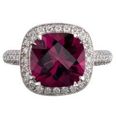 4.72 Carat Gem Pink Tourmaline and Diamond Ring