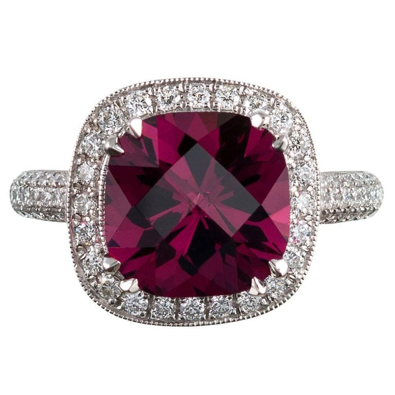 4.72 Carat Gem Pink Tourmaline and Diamond Ring For Sale