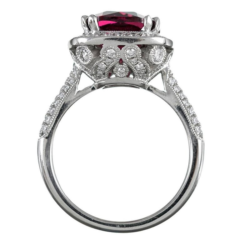 Women's 4.72 Carat Gem Pink Tourmaline and Diamond Ring For Sale