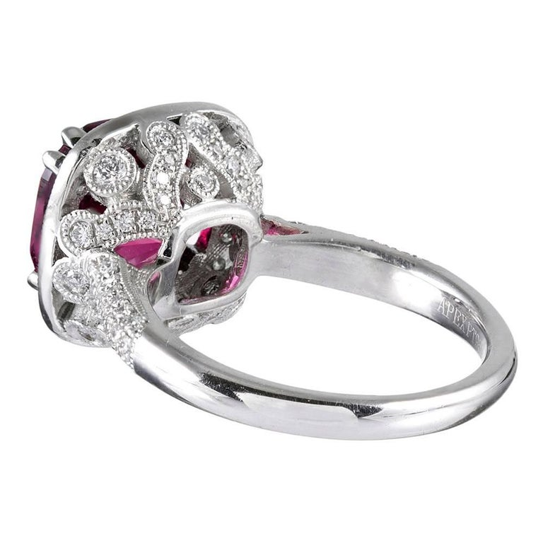 4.72 Carat Gem Pink Tourmaline and Diamond Ring In Excellent Condition For Sale In Carmel-by-the-Sea, CA