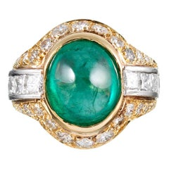 7 Carat Cabochon Emerald and Diamond Dome Ring