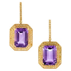 20 Carat Amethyst and Yellow Diamond Earrings
