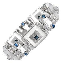 Rock Crystal Sapphire Diamond Link Bracelet