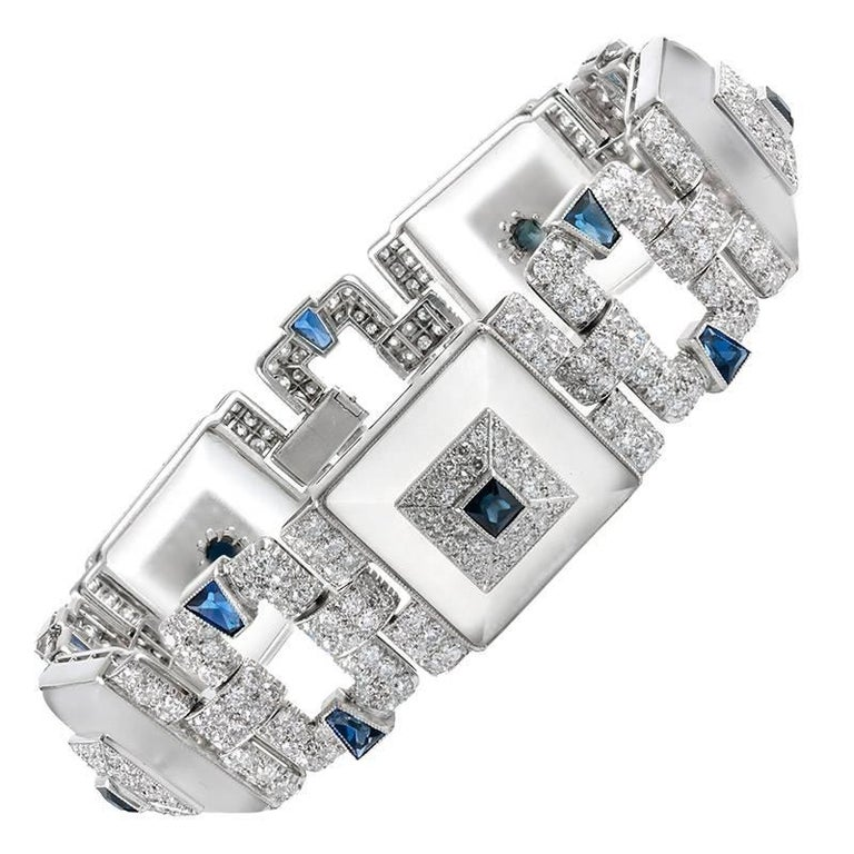 Rock Crystal Sapphire Diamond Link Bracelet For Sale