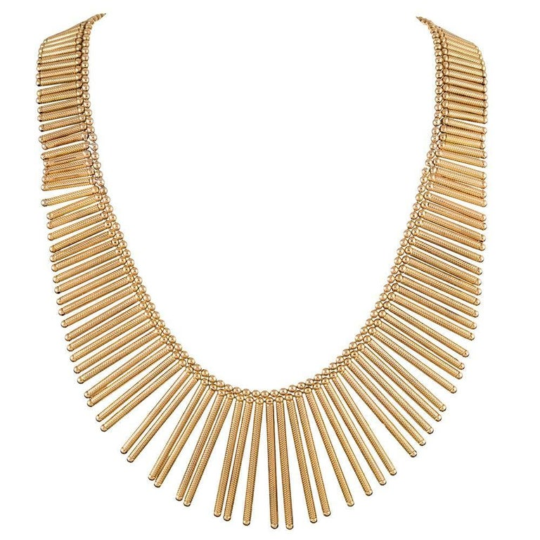 Golden Matchstick Necklace and Bracelet Suite For Sale 2