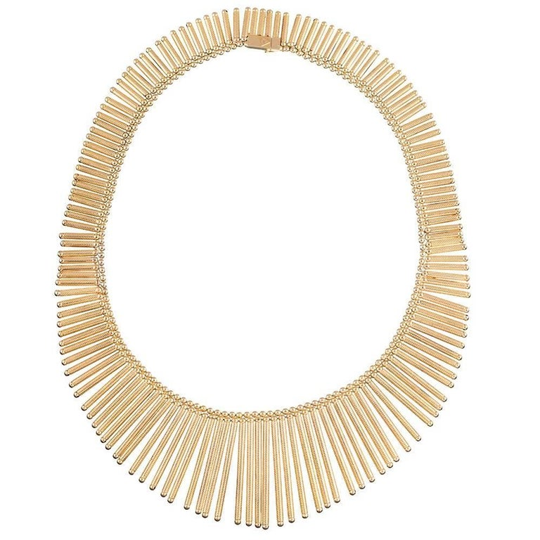 Golden Matchstick Necklace and Bracelet Suite For Sale 3