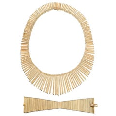 Golden Matchstick Necklace and Bracelet Suite