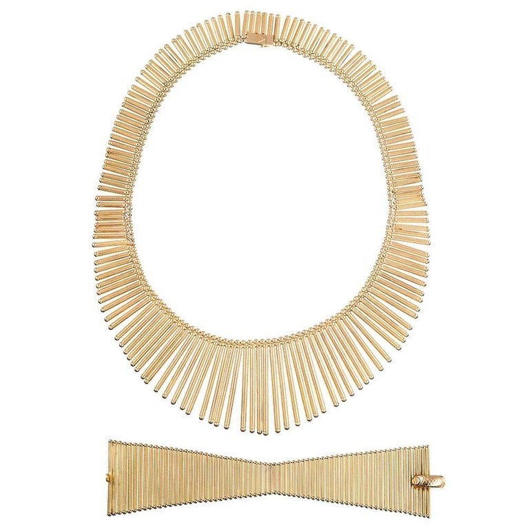 Golden Matchstick Necklace and Bracelet Suite For Sale