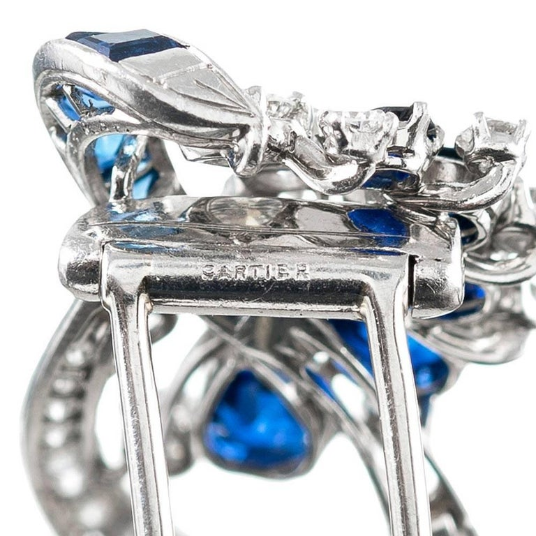 1950s Sapphire and Diamond Brooch, Signed Cartier 2