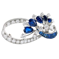 1950s Sapphire and Diamond Brooch, Signed Cartier