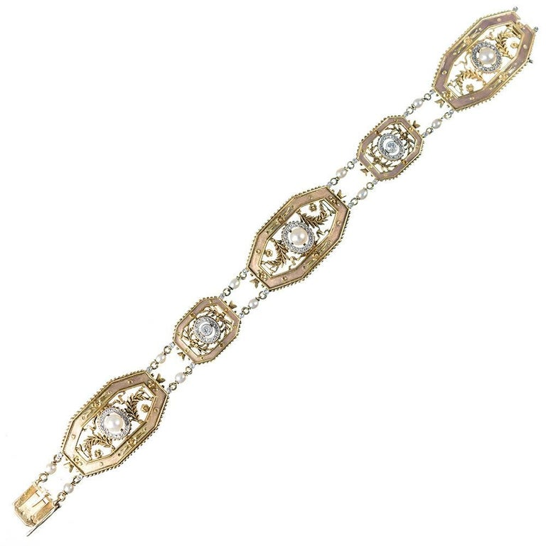 French Edwardian Bracelet with Enamel, Diamonds and Pearls, Signed Gautrait For Sale