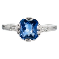 1.60 Carat No Heat Sapphire and Diamond Ring, Signed Lucie Campbell