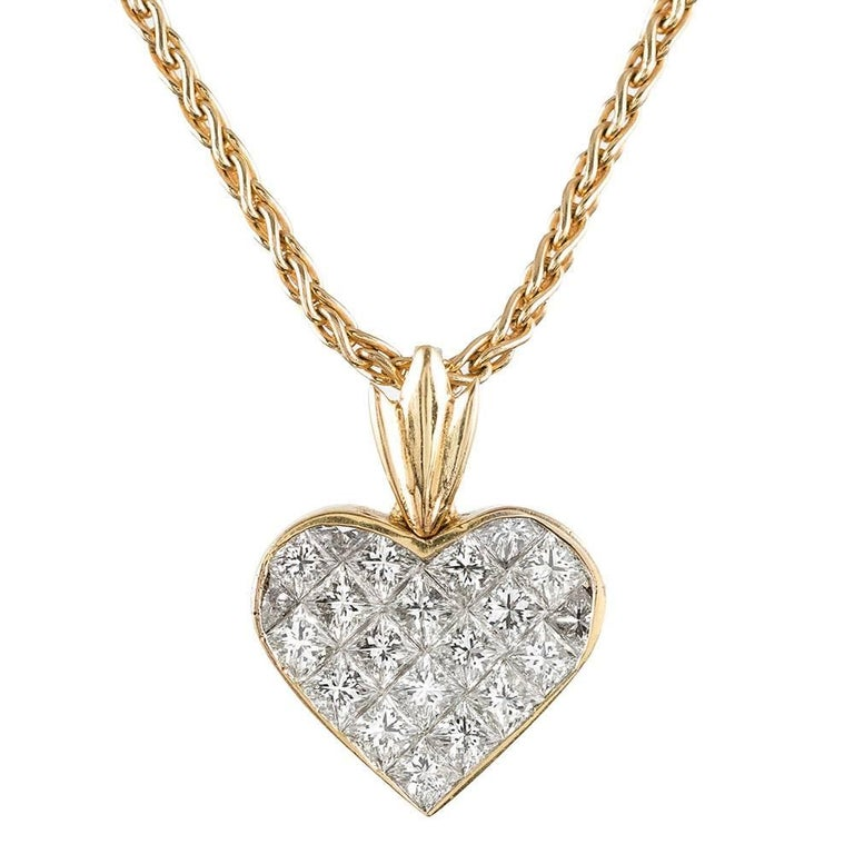 3 Carat Princess Cut Diamond Heart Pendant