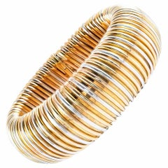 Flexible Tri-Color Gold Wide Bangle Bracelet