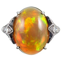 8 Carat Fire Opal Cabochon Diamond Ring