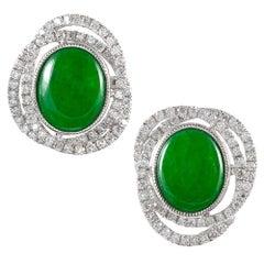Jadeite Diamond Infinity Cluster Ear Studs