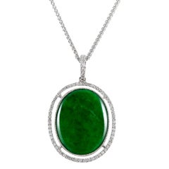 8 Carat Jadeite and Diamond Cluster Pendant