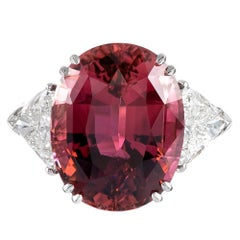 17.06 Carat Pink Tourmaline Trillion Diamond Three-Stone Ring