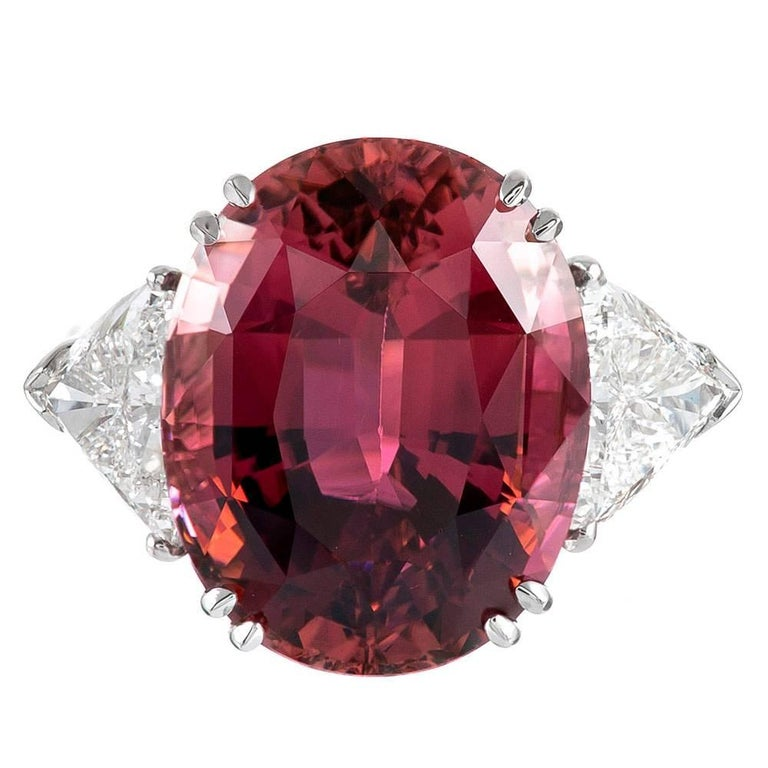 17.06 Carat Pink Tourmaline Trillion Diamond Three-Stone Ring