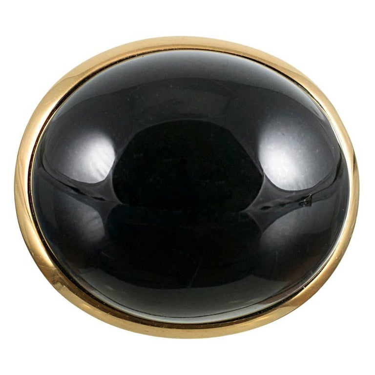 Black Jade Cabochon Dome Ring, Signed Elsa Peretti