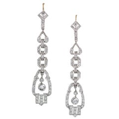 Modern Art Deco Style Diamond Drop Earrings