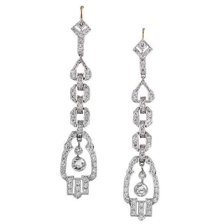 Modern Art Deco Style Diamond Drop Earrings For