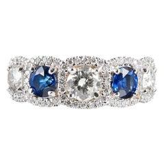 Sapphire and Diamond Halo Half Eternity Band