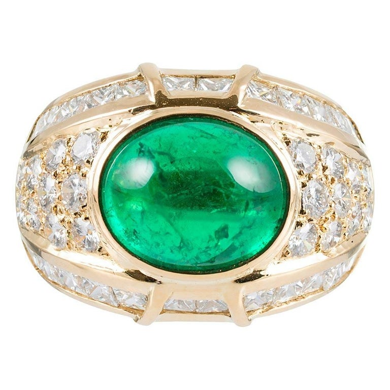 6 Carat Cabochon Emerald and Diamond Dome Ring