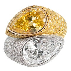 Important Fancy Vivid Yellow and White Diamond Bypass Ring