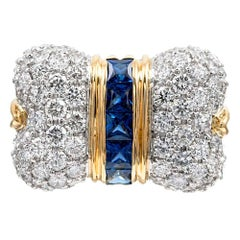 "White Diamond and Blue Sapphire ""Bow"" Ring"