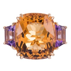 Three-Stone 13.42 Carat Citrine and Amethyst Ring, Signed Seaman Schepps