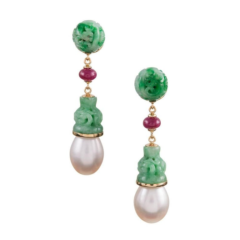 Seaman Schepps Carved Jadeite, Ruby and Freshwater Pearl Earrings
