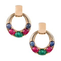 "Cabochon Emerald, Ruby and Sapphire Ear Hoops, Signed ""Seaman Schepps"""