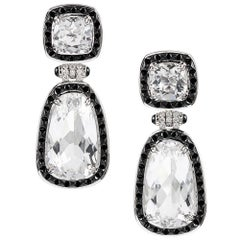"""Golconda"" Earrings with Rock Crystal, Diamonds and Onyx, Signed Seaman Schepps"