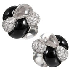 """Knot"" Earrings with Rock Crystal, Diamonds and Onyx, Signed Seaman Schepps"