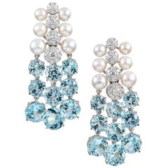 "Seaman Schepps ""Cascade"" Earrings with Blue Topaz, Diamonds and Pearls"