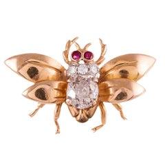 Retro Diamond Bee Pin