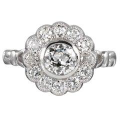 Platinum 1.34 Carat Old European Cut Diamond Cluster Ring