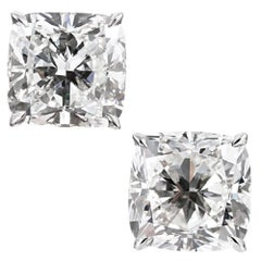 10.07 Carat GIA Cushion Diamond Stud Earrings