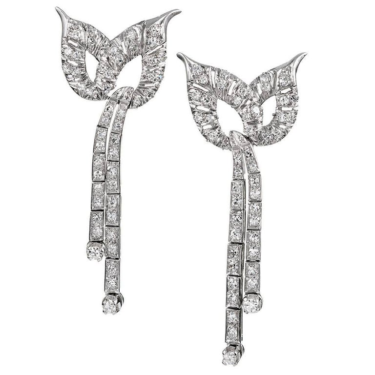 Retro Platinum and Diamond Drop Earrings