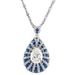 Modern Art Deco Style 2.09 Carat I/Vs2 Pear Diamond and Sapphire Pendant