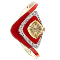 "Midcentury Asymmetrical Rolex Carnelian and Diamond ""High Jewelry"" Ladies Watch"
